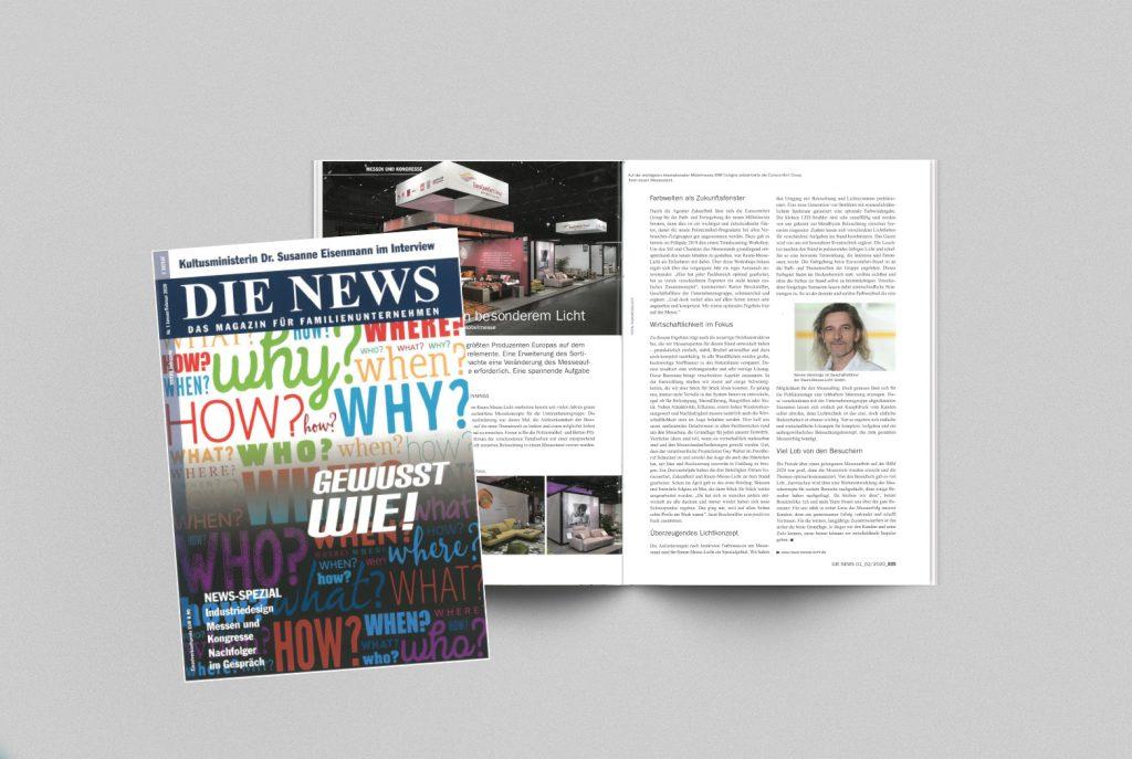 """Unkonventionell und unvergesslich! RAUM-MESSE-LICHT Artikel in """"die NEWS"""""""